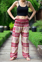 Load image into Gallery viewer, Bohotusk Red Elephant Herd Print Elasticated Smocked Waist Womens Harem Trousers S/M to 3XL