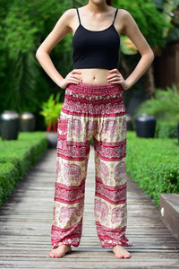 Bohotusk Red Elephant Herd Print Elasticated Smocked Waist Womens Harem Trousers S/M to 3XL