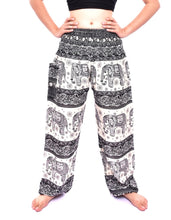 Load image into Gallery viewer, Bohotusk Black Elephant Herd Print Elasticated Smocked Waist Womens Maternity Harem Trousers
