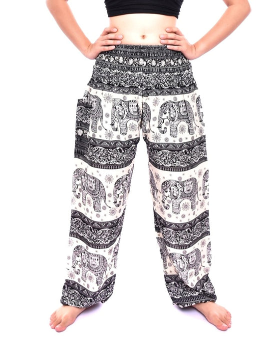 Bohotusk Black Elephant Herd Print Elasticated Smocked Waist Womens Maternity Harem Trousers