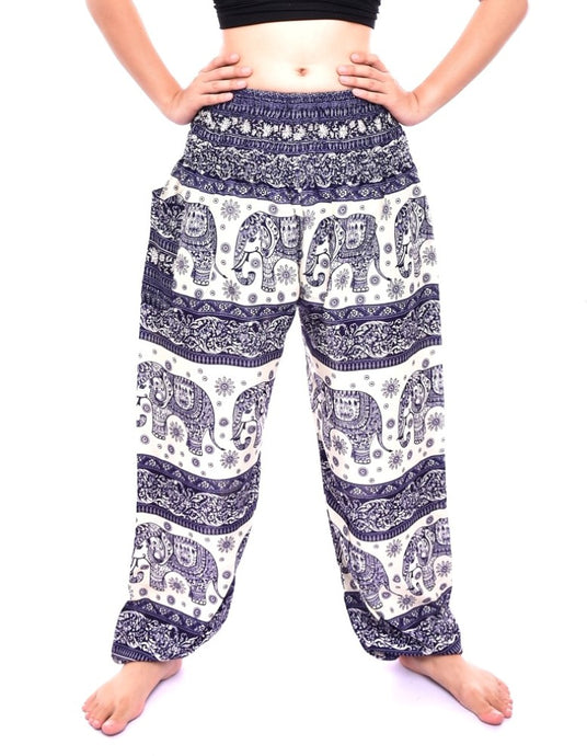 Bohotusk Navy Blue Elephant Herd Print Elasticated Smocked Waist Womens Harem Pants