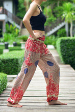 Load image into Gallery viewer, Bohotusk Red Garden Swirl Print Elasticated Smocked Waist Womens Harem Pants S/M to 3XL