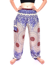 Load image into Gallery viewer, Bohotusk Blue Garden Swirl Print Elasticated Smocked Waist Womens Harem Pants