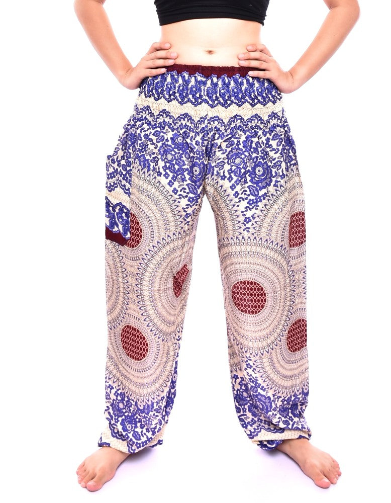 Bohotusk Blue Garden Swirl Print Elasticated Smocked Waist Womens Harem Pants