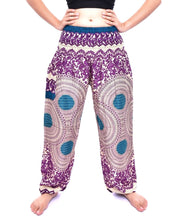 Load image into Gallery viewer, Bohotusk Purple Garden Swirl Print Elasticated Smocked Waist Womens Harem Pants