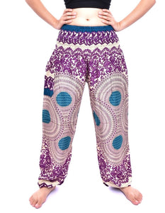 Bohotusk Purple Garden Swirl Print Elasticated Smocked Waist Womens Harem Pants S/M to 3XL