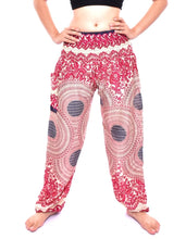 Load image into Gallery viewer, Bohotusk Pink Garden Swirl Print Elasticated Smocked Waist Womens Harem Pants