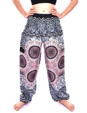 Load image into Gallery viewer, Bohotusk White Sun Glow Print Elasticated Smocked Waist Womens Harem Pants