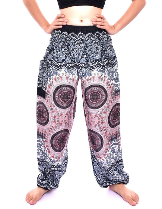 Bohotusk White Sun Glow Print Elasticated Smocked Waist Womens Harem Pants