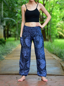 Bohotusk Black Night Glow Print Elasticated Smocked Waist Womens Harem Pants