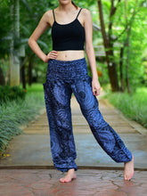 Load image into Gallery viewer, Bohotusk Black Night Glow Print Elasticated Smocked Waist Womens Harem Pants