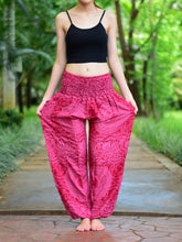 Load image into Gallery viewer, Bohotusk Kids Red Night Glow Elasticated Smocked Waist Harem Pants (6 - 8 Years)