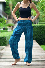 Load image into Gallery viewer, Bohotusk Blue Night Glow Print Elasticated Smocked Waist Womens Harem Pants S/M to 3XL