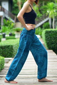 Bohotusk Blue Night Glow Print Elasticated Smocked Waist Womens Harem Pants