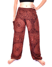 Load image into Gallery viewer, Bohotusk Brown Night Glow Print Elasticated Smocked Waist Womens Harem Pants S/M to 3XL