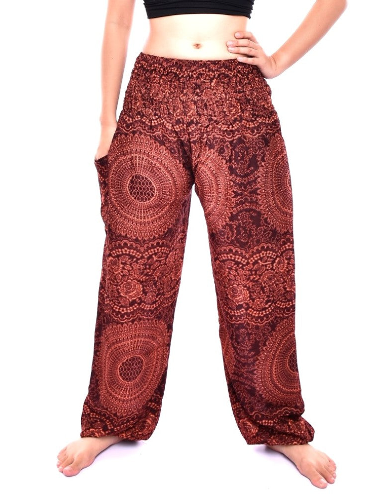 Bohotusk Brown Night Glow Print Elasticated Smocked Waist Womens Harem Pants