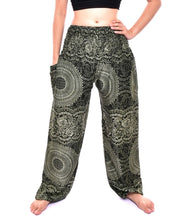 Load image into Gallery viewer, Bohotusk Olive Green Night Glow Print Elasticated Smocked Waist Womens Harem Pants