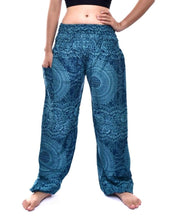 Load image into Gallery viewer, Bohotusk Blue Night Glow Print Elasticated Smocked Waist Womens Harem Pants