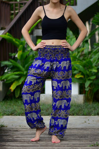 Bohotusk Blue Elephant Grassland Print Elasticated Smocked Waist Womens Harem Pants S/M and L/XL