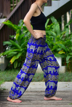 Load image into Gallery viewer, Bohotusk Blue Elephant Grassland Print Elasticated Smocked Waist Womens Harem Pants S/M and L/XL