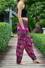 Load image into Gallery viewer, Bohotusk Pink Elephant Grassland Print Elasticated Smocked Waist Womens Harem Pants S/M