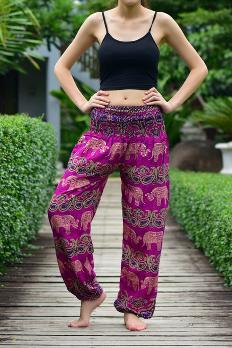 Bohotusk Pink Elephant Grassland Print Elasticated Smocked Waist Womens Harem Pants S/M and L/XL