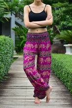 Load image into Gallery viewer, Bohotusk Pink Elephant Grassland Print Elasticated Smocked Waist Womens Harem Pants