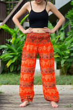 Load image into Gallery viewer, Bohotusk Kids Orange Elephant Grassland Elasticated Smocked Waist Harem Pants (9 - 12 Years)