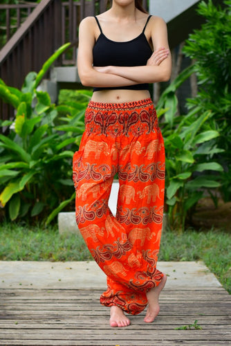Bohotusk Orange Elephant Grassland Print Elasticated Smocked Waist Womens Harem Pants