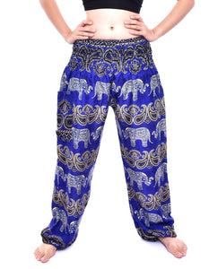 Bohotusk Blue Elephant Grassland Print Elasticated Smocked Waist Womens Petite Fit Harem Pants