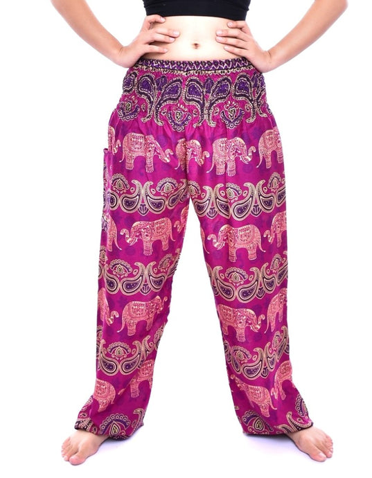 Bohotusk Kids Pink Violet Elephant Grassland Elasticated Smocked Waist Harem Pants (9 - 12 Years)
