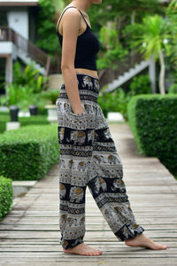 Bohotusk Black Elephant Savanagh Print Elasticated Smocked Waist Womens Harem Pants