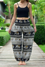 Load image into Gallery viewer, Bohotusk Black Elephant Savanagh Print Elasticated Smocked Waist Womens Harem Pants