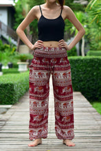 Load image into Gallery viewer, Bohotusk Red Elephant Savanagh Print Elasticated Smocked Waist Womens Harem Pants