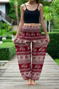 Bohotusk Red Elephant Savanagh Print Elasticated Smocked Waist Womens Harem Pants