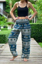 Load image into Gallery viewer, Bohotusk Green Elephant Savannah Print Elasticated Smocked Waist Womens Harem Pants S/M