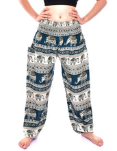 Load image into Gallery viewer, Bohotusk Green Elephant Savanagh Print Elasticated Smocked Waist Womens Harem Pants