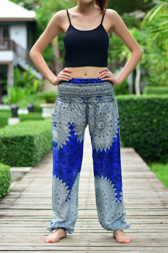 Bohotusk Blue Snowflake Print Elasticated Smocked Waist Womens Harem Pants S/M to L/XL