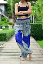 Load image into Gallery viewer, Bohotusk Blue Snowflake Print Elasticated Smocked Waist Womens Harem Pants S/M to L/XL