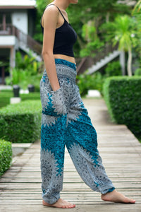 Bohotusk Turquoise Snowflake Print Elasticated Smocked Waist Womens Harem Pants S/M to L/XL