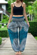 Load image into Gallery viewer, Bohotusk Turquoise Snowflake Print Elasticated Smocked Waist Womens Harem Pants