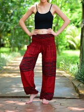Load image into Gallery viewer, Bohotusk Red Patch Stripe Elasticated Smocked Waist Womens Harem Pants