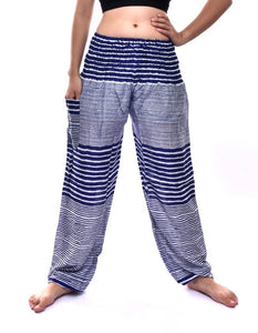 Bohotusk Kids Navy Blue Patch Stripe Elasticated Smocked Waist Harem Pants (9 - 12 Years)