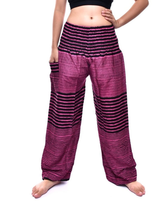 Bohotusk Kids Pink Patch Stripe Elasticated Smocked Waist Harem Pants (9 - 12 Years)