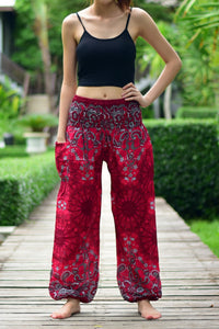 Bohotusk Red Ink Splash Print Elasticated Smocked Waist Womens Harem Pants S/M to LXL