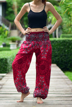 Load image into Gallery viewer, Bohotusk Red Ink Splash Print Elasticated Smocked Waist Womens Harem Pants S/M to LXL