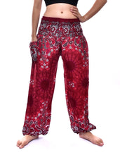 Load image into Gallery viewer, Bohotusk Red Ink Splash Print Elasticated Smocked Waist Womens Harem Pants