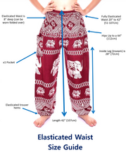Load image into Gallery viewer, Bohotusk Royal Maroon Elephant Print Elasticated Smocked Waist Womens Harem Pants
