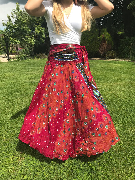 Bohotusk Burnt Red Peacock Long Skirt With Coconut Buckle (& Strapless Dress)