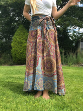 Load image into Gallery viewer, Bohotusk Grey Solar Circle Long Skirt With Coconut Buckle (& Strapless Dress)